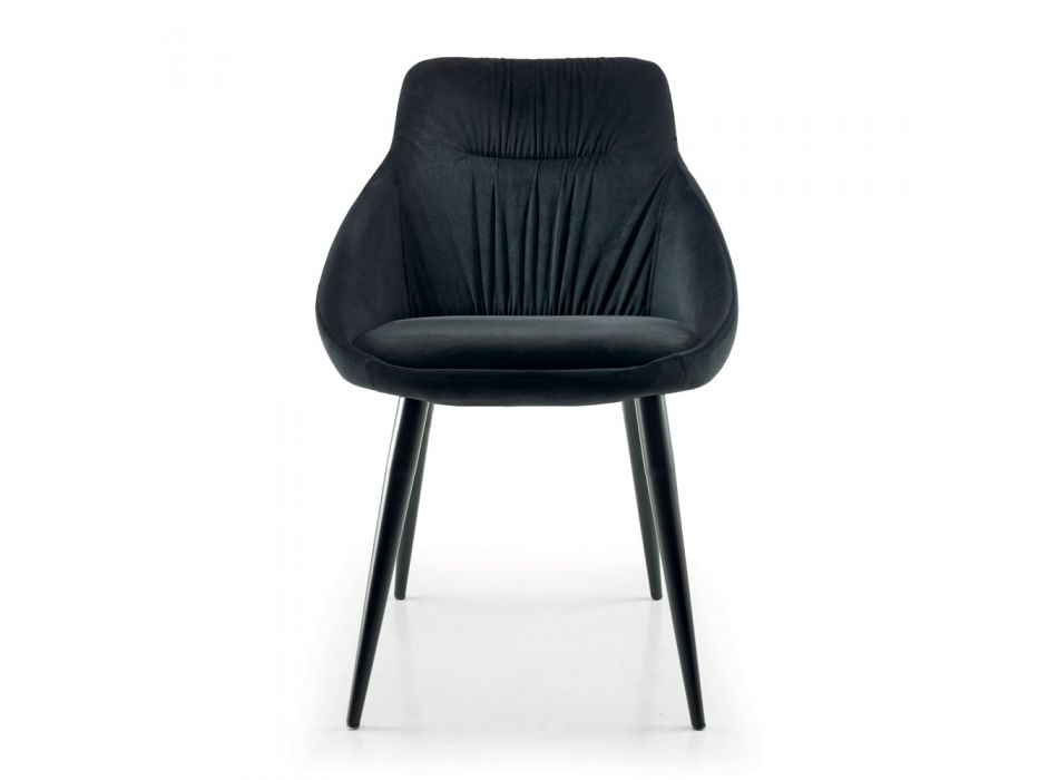 Chair in Velvet and RAL Lacquered Steel Made in Italy 4 Pieces - Mariapina