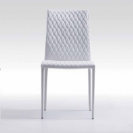 Modern design chair entirely eco-leather coated made in Italy Afra