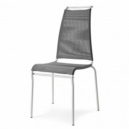 Living Chair with High Back in Chromed Metal Made in Italy, 2 pieces - Air High