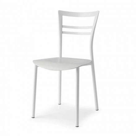 Living Design Chair in Metal and Multilayer Wood Made in Italy, 2 pieces - Go