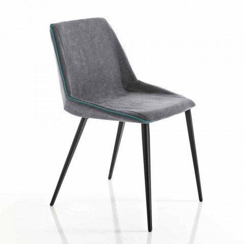 Living chair in fabric and wedge-shaped legs made in Italy, Oriella