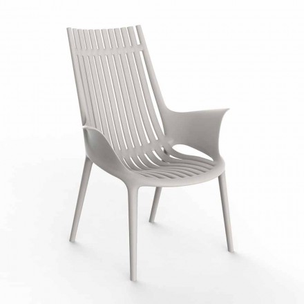 Lounge Chair with Armrests for Outdoor in Plastic 4 Pieces - Ibiza by Vondom