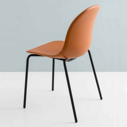 Modern Connubia chair by Calligaris Academy in metal and leather