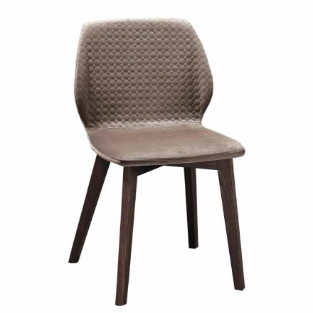 Modern Elegant Design Chair in Quilted Velvet and Wood 4 Pieces - Scarat