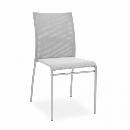 Modern Stackable Chair Satin Steel and Technical Fabric Made in Italy, 2 pieces - Jenny