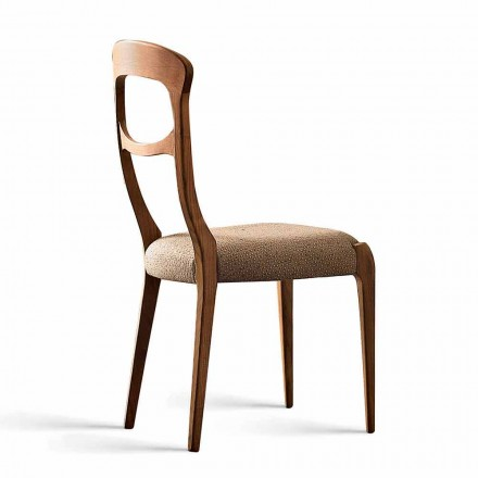 Dining chair Gemma with Canaletto walnut wood structure & padded seat