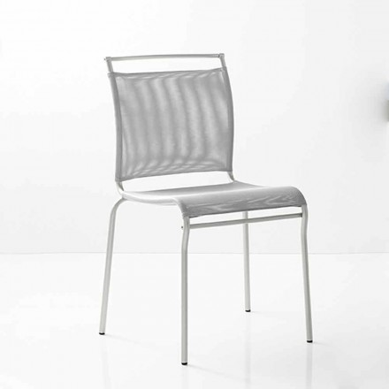 Modern Dining Room Chair Satin Steel and Fabric Made in Italy, 2 pieces - Air