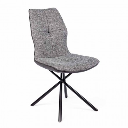 Modern Chair Covered in Polyester and Leatherette 4 pieces Homemotion - Plero