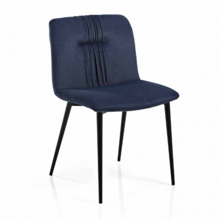 Monocoque Chair in Colored Fabric and Black Metal Design 4 Pieces - Florinda