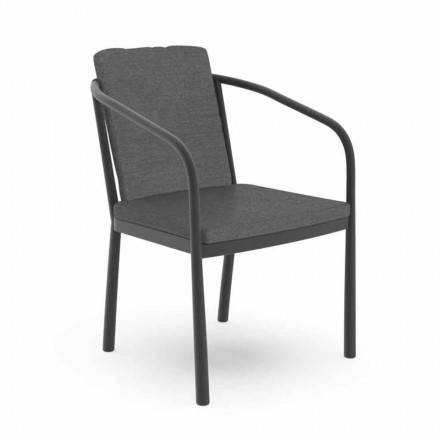 Outdoor Chair with Armrests in Aluminum and Fabric - Sofy by Talenti