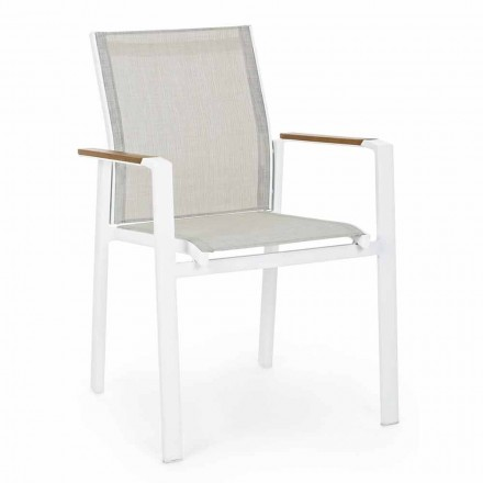 Stackable Outdoor Chair with Aluminum Armrests Homemotion - Sciullo