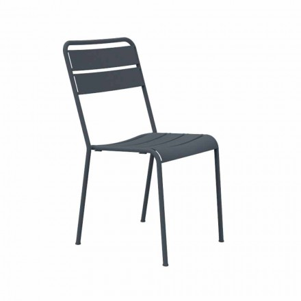 Stackable Outdoor Chair Powder Coated Made in Italy, 4 Pieces - Amina