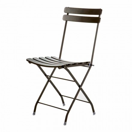 Made in Italy Painted Metal Folding Outdoor Chair, 4 Pieces - Lori