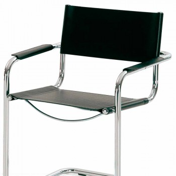 Chair for Conference Room or Meeting Room in Black Leather and Metal - Cirillo