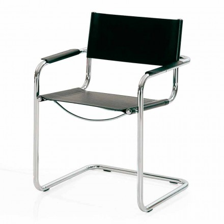 Meeting Room Chair in Black Leather and Metal – Cirillo