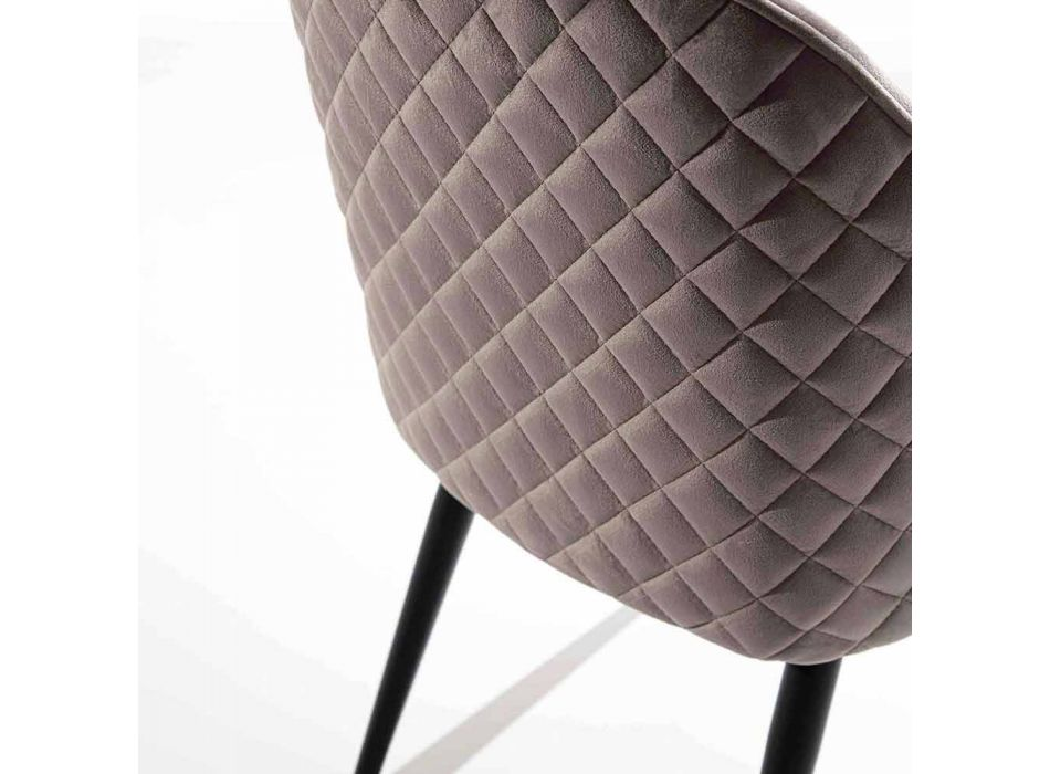 Dining Room Chair with Seat Covered in Velvet or Ecoleather - Alida