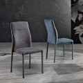 Design chair in fabric for dining room made in Italy, Luigina