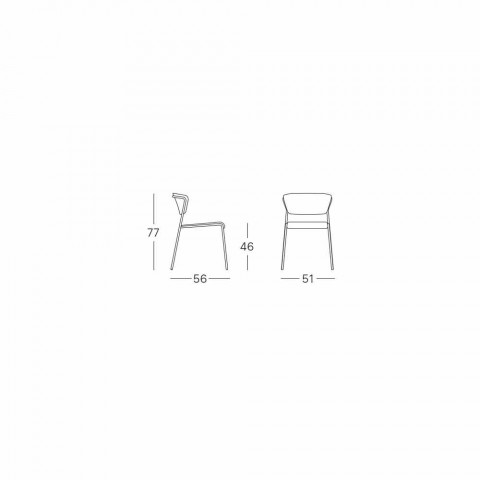 Dining Room Chair in Steel and Fabric Made in Italy - Scab Design Lisa
