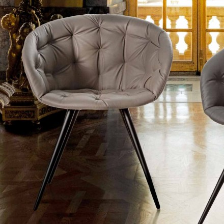 Dining Room Chair in Ecoleather with Legs in Black Painted Metal - Ezio