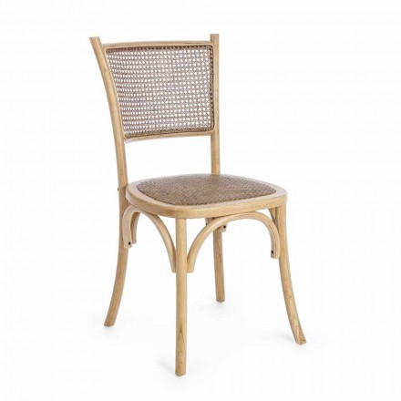 Dining Room Chair in Rattan and Wood Classic Design Homemotion - Meridia