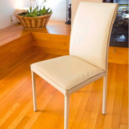 Dining room chair turtledove on faux leather Bessie, made in Italy