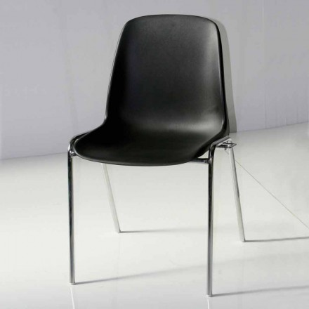 Chair for Meeting Room or Modern Conference Room in Metal and Black ABS – Zetica