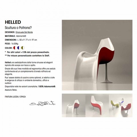 Chair / Armchair Design in Adamantx® Helled Made in Italy