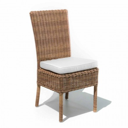 Outdoor Dining Chair in Woven Synthetic Rattan and Fabric, 2 Pieces - Yves