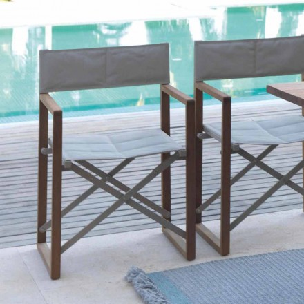 Folding director's chair for outdoor use in mahogany and Textilene Bridge