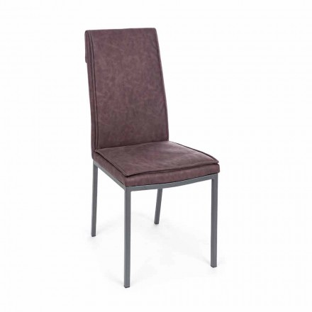 Chair Upholstered in Leatherette Vintage Effect 4 Pieces Homemotion - Irama