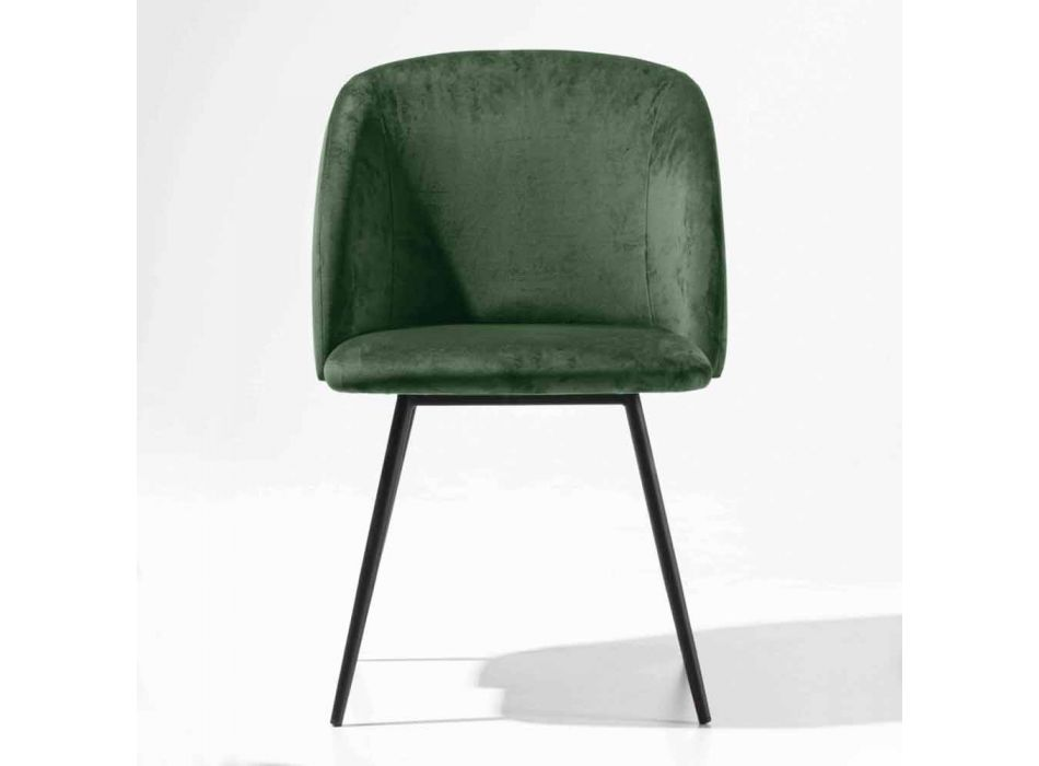 Velvet Upholstered Chair with Black Painted Metal Base, 2 Pieces - Havana