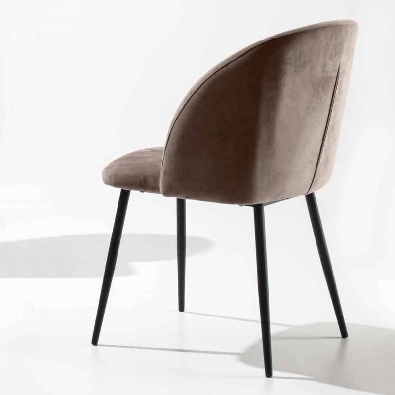 Chair Upholstered in Velvet with Base in Black Painted Metal, 2 Pieces - Havana