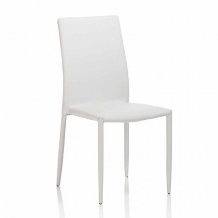 Dining Room Chair in Leatherette with Metal Structure, 4 Pieces - Giola
