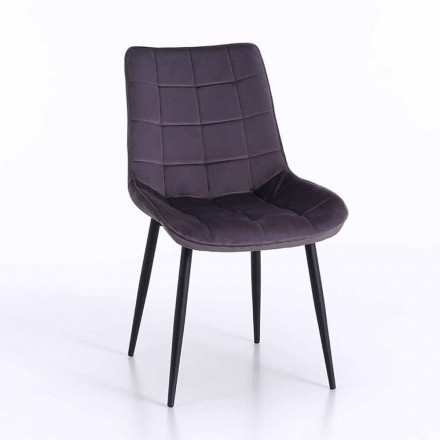 Dining Room Chair in Metal with Upholstered and Covered Seat, 4 Pieces - Cronos