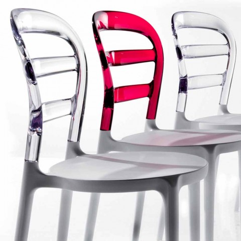 Backrest chair in polycarbonate and Modica white structure