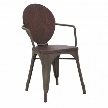 Industrial Design Chair Wood Seat and Iron Base, 2 Pieces - Delia