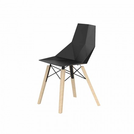 Living Room or Kitchen Chairs in Polypropylene and Wood - Faz Wood by Vondom