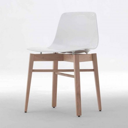 Modern Design 2 Pieces Oak Wood and White Plastic Chairs - Langoustine