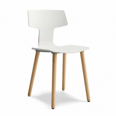 Dining Room Chair in Wood and Polypropylene Made in Italy, 2 Pieces - Clover