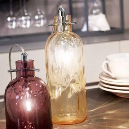 Selene Bossa Nova Amber blown glass desk lamp, Ø10 H 26cm