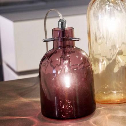 Selene Bossa Nova Amethyst blown glass desk lamp, Ø11 H16cm