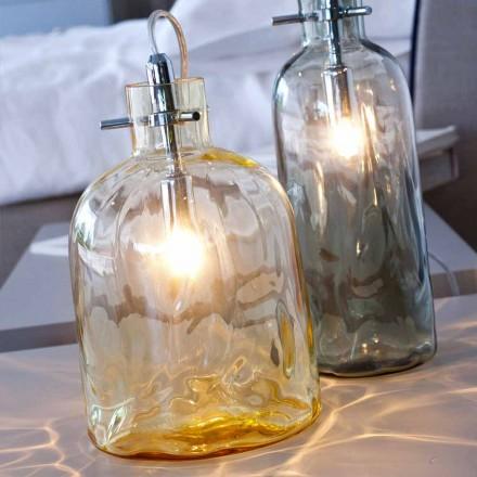 Selene Bossa Nova Amber blown glass desk lamp, Ø15 H21cm