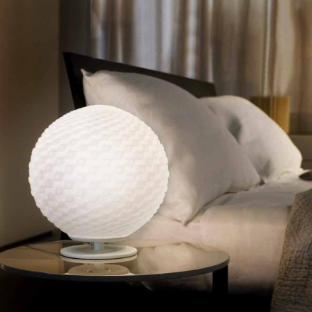 Selene Domino modern white table lamp Ø27 H30cm, made of blown glass