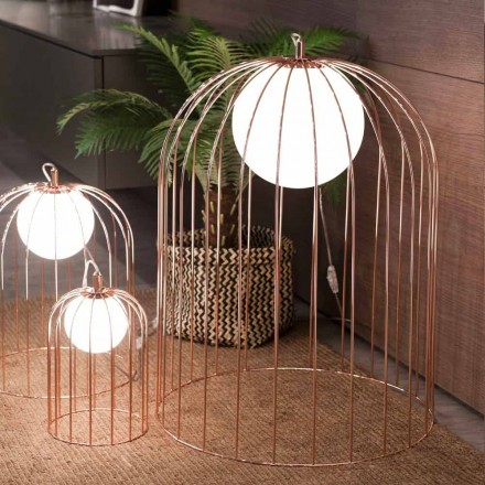Selene Kluvì cage table lamp made of blown glass, Ø54 H 70cm