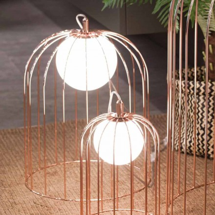 Selene Kluvì cage table lamp made of blown glass, modern design