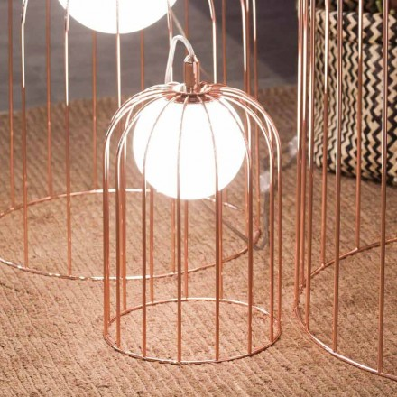 Selene Kluvì modern cage lamp, made of glass and metal, Ø19 H 27cm