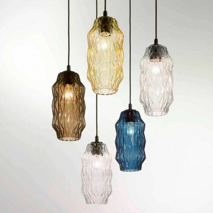 Selene Origami blown glass pendant lamp, Ø16,H30/140cm, modern design
