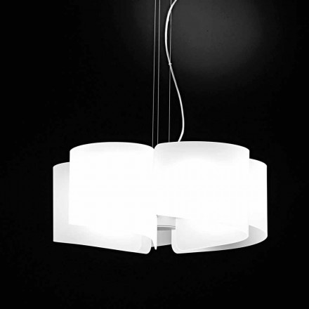 Selene Papiro white crystal pendant light, Ø65xH14 cm, modern design