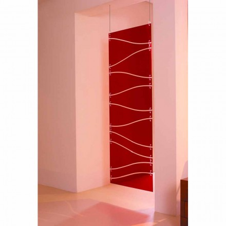 Wall hung methachrylate room divider Blake, red or satin finish