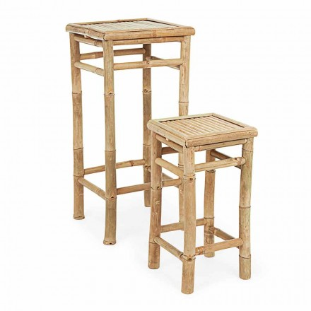 Set of 2 Ethnic Design Bamboo Wood Garden Tables - Blumele